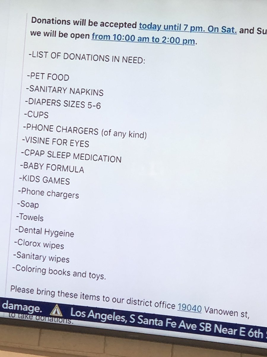 If you're in the area, and can, these items are being accepted at 19040 Vanowen St in Reseda. #Woolseyfire