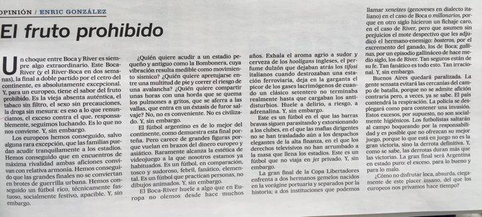 ¿Cómo no volverse loco por el Boca- River después de este texto de Enric González? La mirada Europea sobre 22 cabrones toscos y sudorosos 👇🏼 [vía @el_pais] Foto