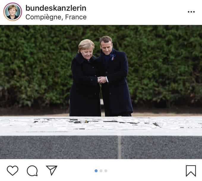 Наглядная разница: Как ключевой кадр немецко-французского примирения видят инстаграмы Меркель и Макрона Фото