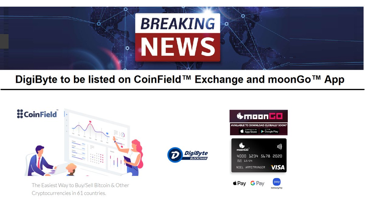 #Blockchain #Crypto #DigiByte is being launched on CoinField exchange with trading pairs BTC and XRP.  Fiat pais in Q1-2, 2019 with USD, EUR, CAD, GBP, JPY &amp; AED!  @coinfieldEX is Canada's most advanced exchange and is including #DGB $DGB in 61-countries.  @DigiByteCoin #cry<br>http://pic.twitter.com/oVIFRfkPxD