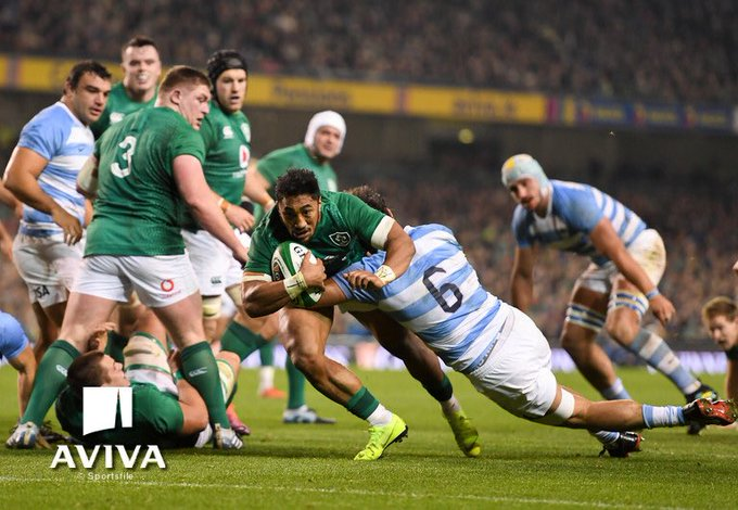 Half time here! Ireland 🇮🇪 15 - 14 Argentina 🇦🇷. Big second half ahead! More nervy than we thought! #IREvARG Photo