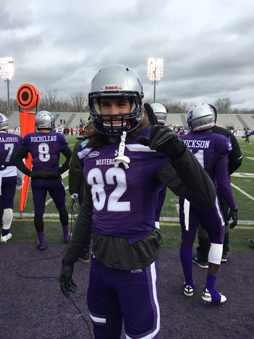 Griffin Campbell with his 1st Career TD reception. 39-0 @WesternMustangs #YatesCup Photo
