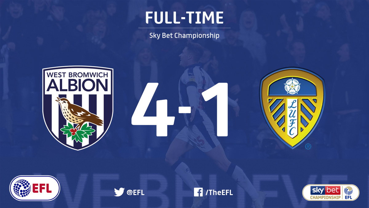 FULL-TIME: A dominant performance and a dominant victory for @WBA who win this one 4-1 and are up to fifth in the @SkyBetChamp Happy with that one #WBA fans?