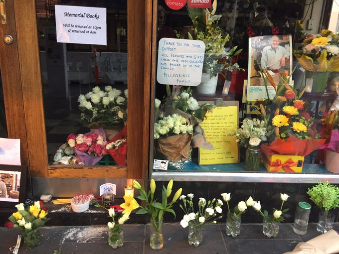 Flowers and gifts and cards left outside Pelligrinis have been collected and passed on to Sisto Malaspina's family. #BourkeSt Photo
