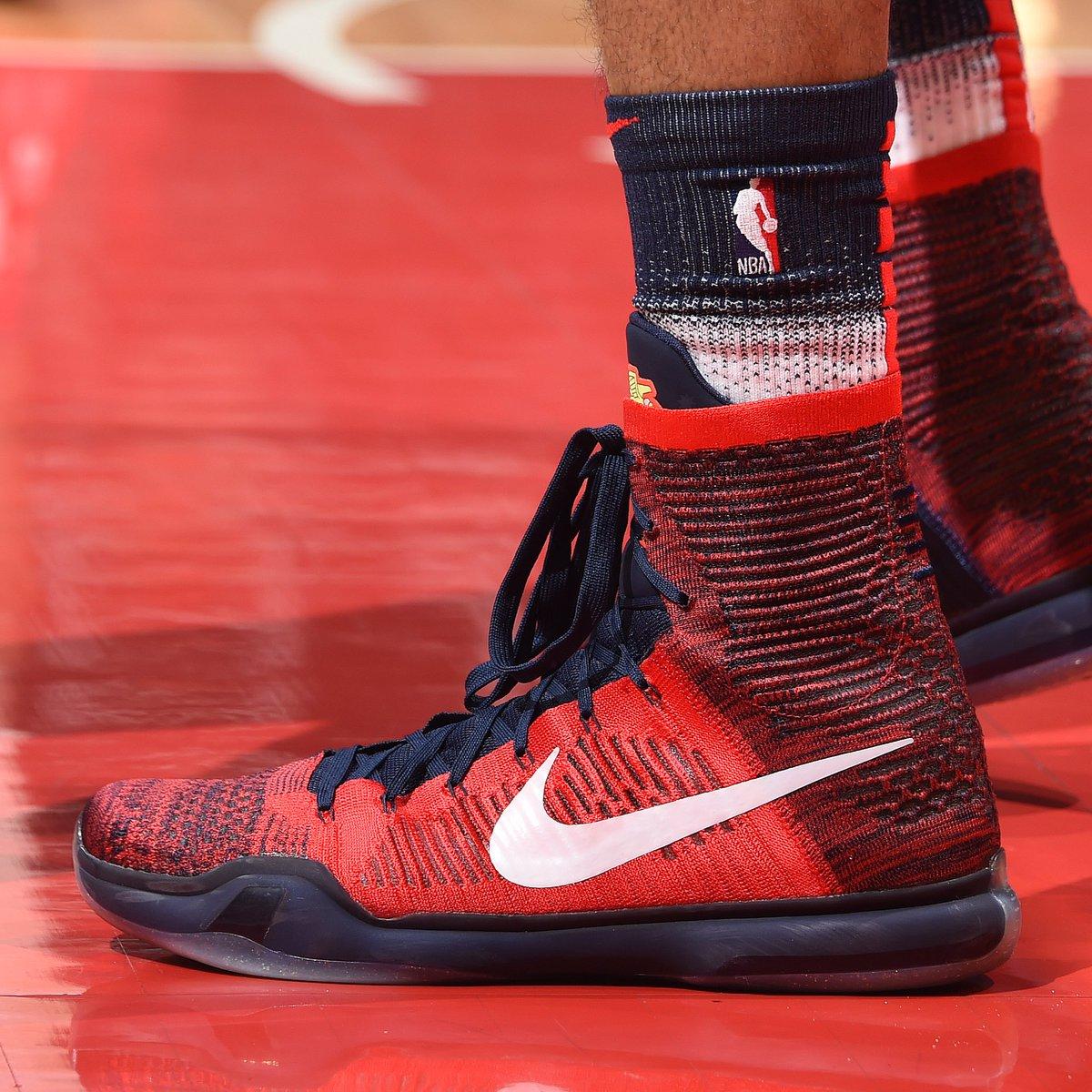 "#SoleWatch: @tobias31 wearing the ""American"" Nike Kobe 10 Elite High against the Bucks. 📸: @adampantozzi"