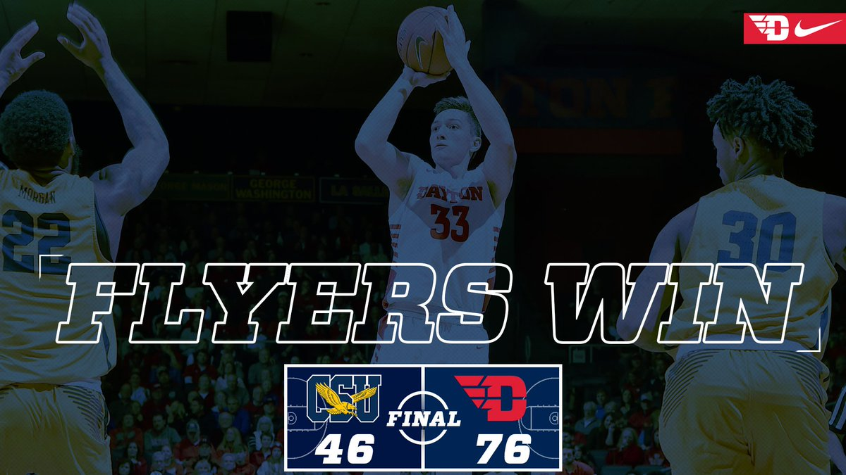 That&#39;s a wrap from UD Arena! Dayton defeats Coppin State by a score of 76-46 on Saturday night. Ryan Mikesell recorded a double-double with 18 points and 10 rebounds, while Obi Toppin led all scorers with 19 points! #JoinTheFight <br>http://pic.twitter.com/psREVa6Dg1
