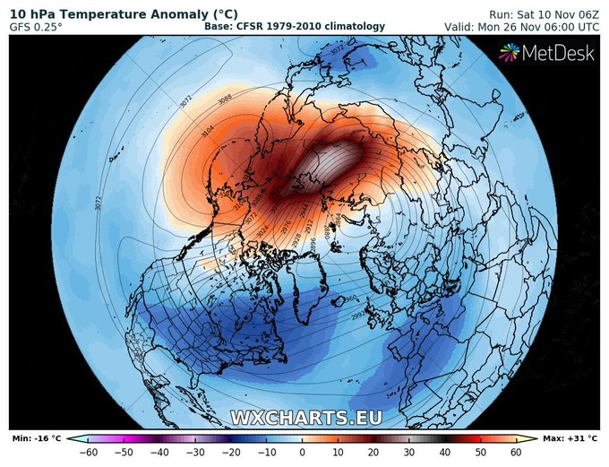 PV clearly shifted from Pole and Aleutian High well established Foto