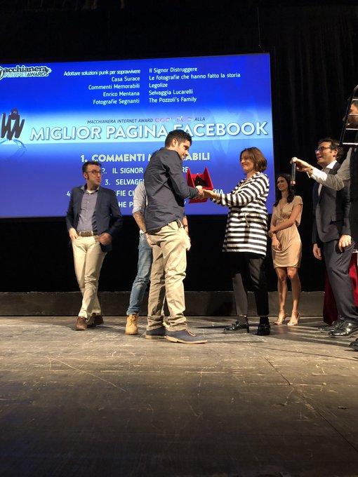 """.@antonellamanda3 di @OpenFiberIT premia Commenti Memorabili 🏅come """"Miglior Pagina Facebook. #MIA18 #FDR18 Foto"""