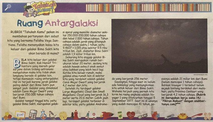 Anak bertanya: kalau kita keluar dari galaksi Bima Sakti, kita berada di mana? Ini jawaban dari pengelola @pinah yg dimuat di #PRKecil #79 Photo