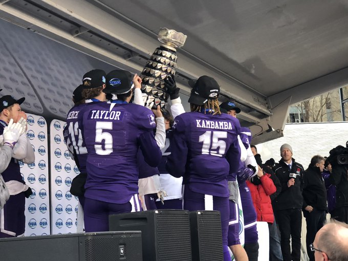 Congrats @WesternMustangs football on winning 2018 Yates Cup. What a great game! #PurpleReign #YatesCup Photo