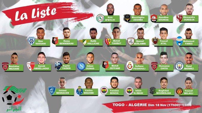 Sofiane Feghouli, Cezayir'in Togo ile oynayacağı karşılaşma için Milli Takım aday kadrosuna davet edildi. Fotoğraf