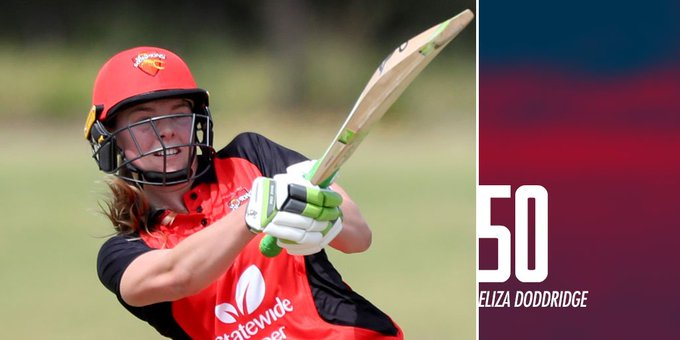 A brilliant display of determination from Eliza Doddridge (53*) in a tough match 👏 A maiden #WNCL half-century for this young Scorp. 👌 Photo