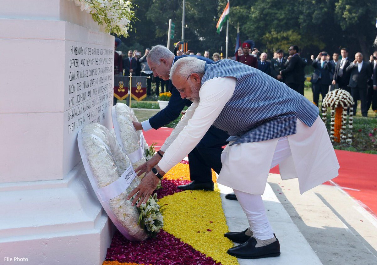 I have had the honour of paying tributes at the Neuve-Chapelle Memorial in France and at the memorial in Israel's Haifa, places associated with India's role in the First World War.   When PM @netanyahu came to India, we paid tributes at the Teen Murti-Haifa Chowk.