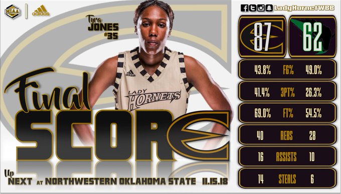 #LadyHornetVictory over Oklahoma Baptist 87-62 to improve to 2-0! Back in action Friday at Northwestern Oklahoma State! #ProtectTheTradition Photo