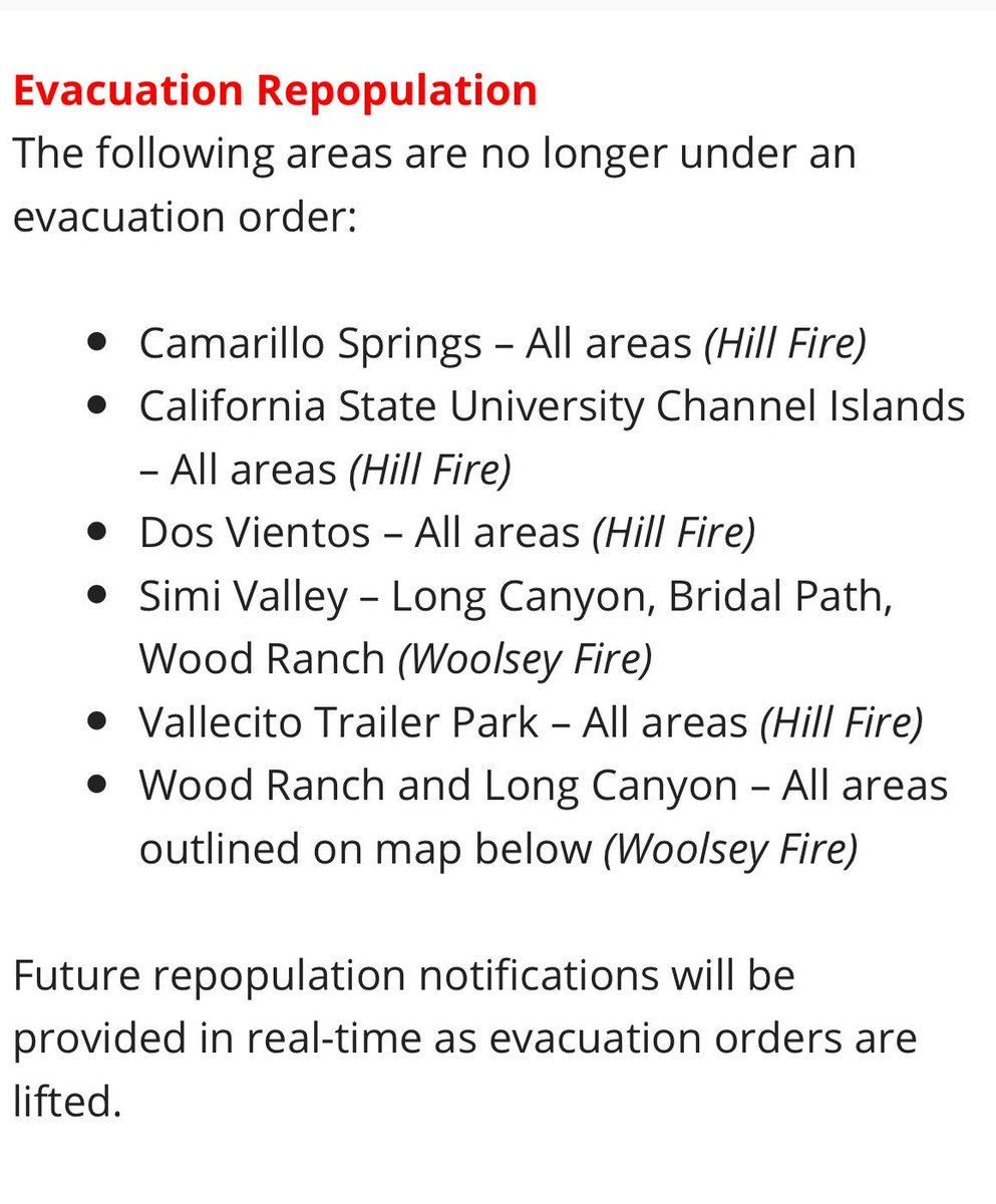 c0bed50c154d4d All evacuation orders from  Hillfire have been lifted. Visit  http   VCemergency.com for full up-to-date information on both  Woolseyfire  and  Hillfire.