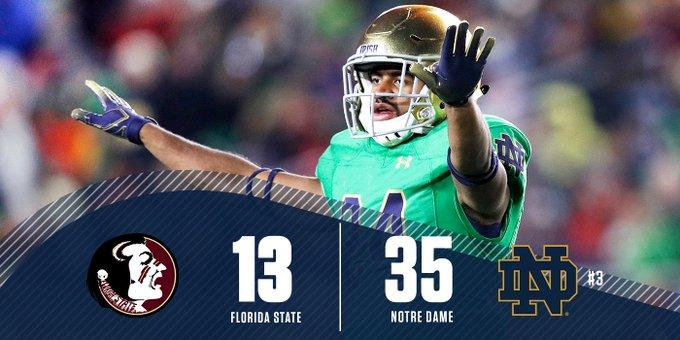 3 down, 1 to go! Get to @NBC for the final quarter of #FSUvsND. Stream: Photo