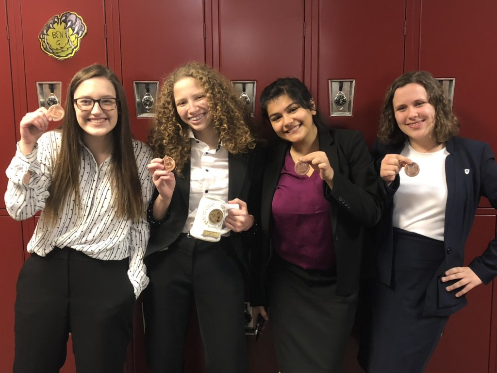 Malerie and Tessa were semi-finalists in novice Public Forum at the Norfolk debate tournament.  Emily was 7th and Ellie was 6th in novice Congressional Debate.  Good job, Crusaders!  And now, pizza!