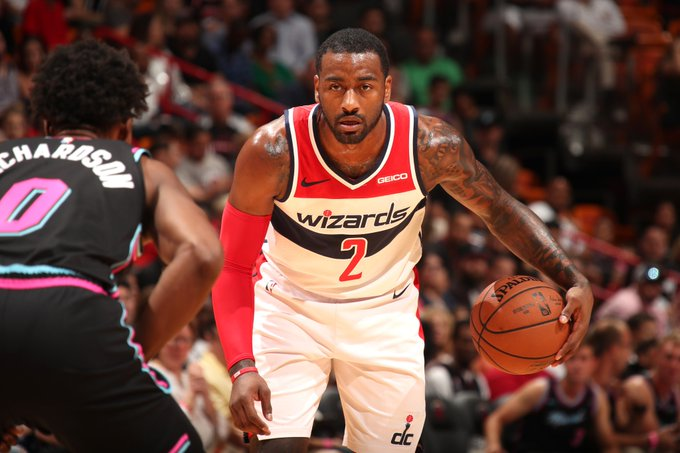 28 PTS, 9 AST for John Wall leads the @WashWizards to victory in Miami! #DCFamily 116 #HEATCulture 110 Jeff Green: 19 PTS, 10 REB Dwight Howard: 11 PTS, 16 REB Bradley Beal: 18 PTS Photo