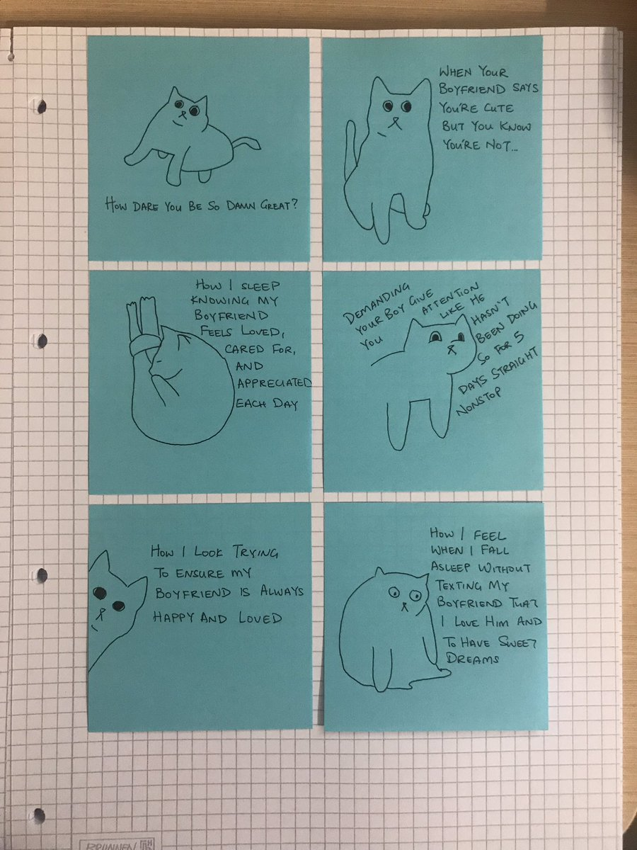 Trying to cheer my boyfriend up by slipping @poorlycatdraw's creations into his notebook