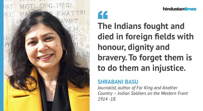 100 years of the end of #WorldWar1   In an interview to @Paro_Ghosh, author and journalist @shrabanibasu_ talks about the racism faced by Indian soldiers who fought in the First World War Read: #ArmisticeDay100 Photo
