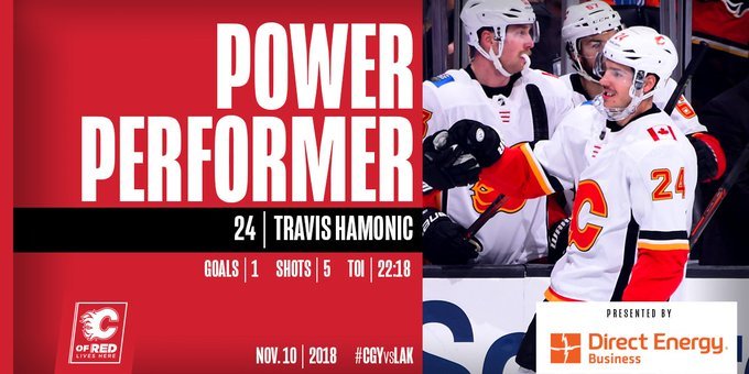 This guy was ALL over the ice tonight. With the game-winning goal, a game-high five shots on net, and more than 22 minutes in ice time, Travis Hamonic is our @DEBusiness Power Performer! #CGYvsLAK Photo