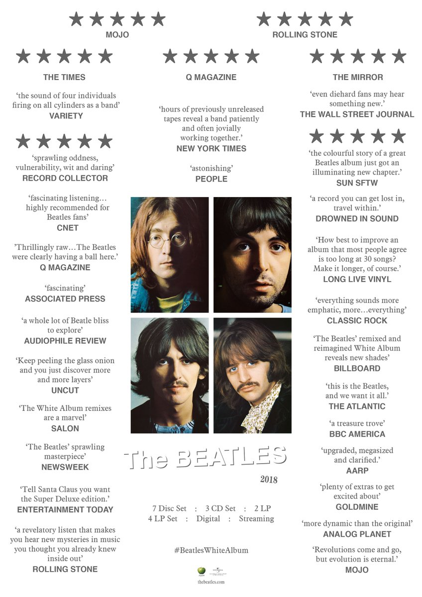 Out Now. The Beatles (White Album) 50th Anniversary Editions. thebeatles.lnk.to/WhiteAlbum #beatleswhitealbum