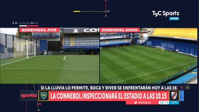 A las 10:15, la Conmebol inspeccionará el campo de juego de La Bombonera. En estos momentos, está muy bien, pero todo depende de la lluvia que puede caer en la mañana. (Fuente de @Tato_Aguilera) Foto