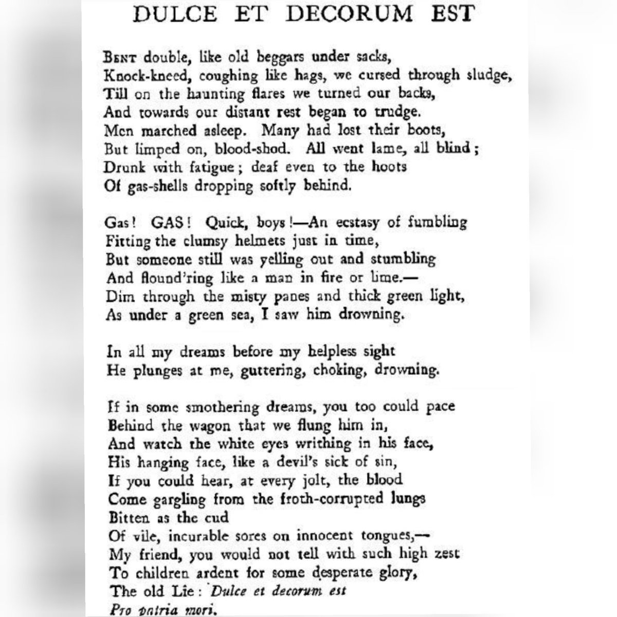 Siobhán Hewlett On Twitter Poem Dulce Et Decorum Est