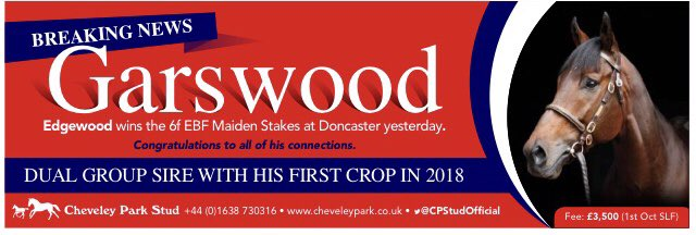 EDGEWOOD wins the 6f Maiden at Doncaster to become another first crop winner for @CPStudOfficial's GARSWOOD, who has also had 2 Group winners from his first crop in 2018 #readallaboutit