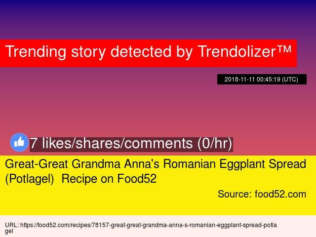 Great-Great Grandma Anna's Romanian Eggplant Spread (Potlagel)  Recipe on Food52 https://t.co/mBZ6GJIYeB https://t.co/BR4O61WdLz