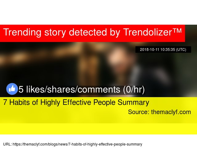 Trending Book News On Twitter 7 Habits Of Highly Effective People