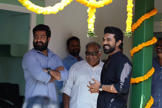 #Baahubali director SS Rajamouli starts his next film Stars Jr NTR and Ram Produced by DVV Pics from #RRRMassiveLaunch - Set Photo