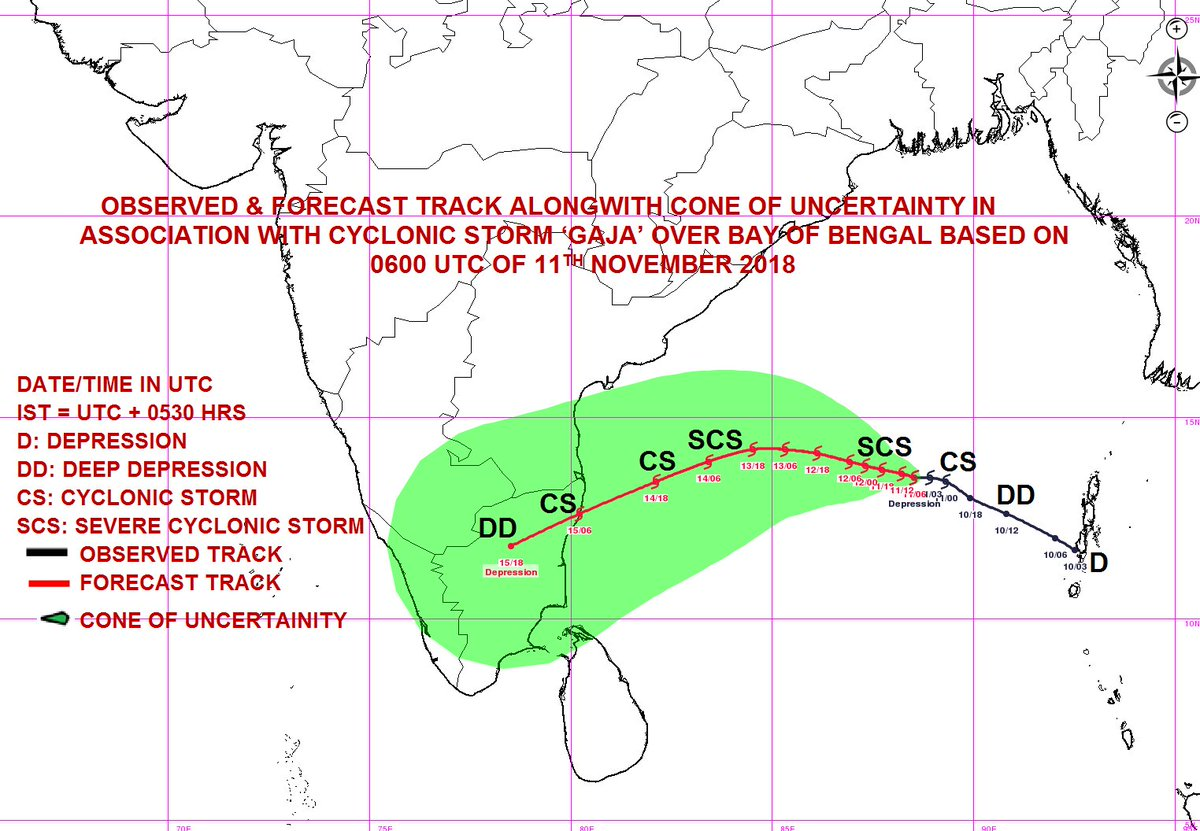 Dept On Twitter Cs Gaja Near La Ude 13 5n And Longitude 88 5e At 1130 Ist Of 11th Nov To Cross North Tamil Nadu South Andhra Pradesh Coasts During