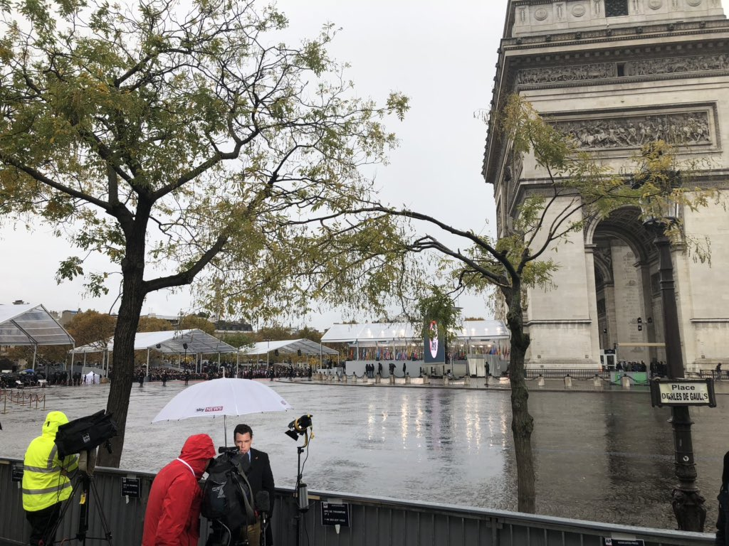 The rainy scene in Paris from inside the press area at the Arc de Triomphe where Trump and world leaders are marking the 100th anniversary of WWI. #Armistice2018