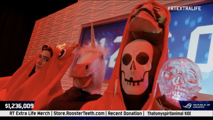 These three look like they're ready to drop the spookiest album of the year. #2Spooky #RTExtraLife Photo