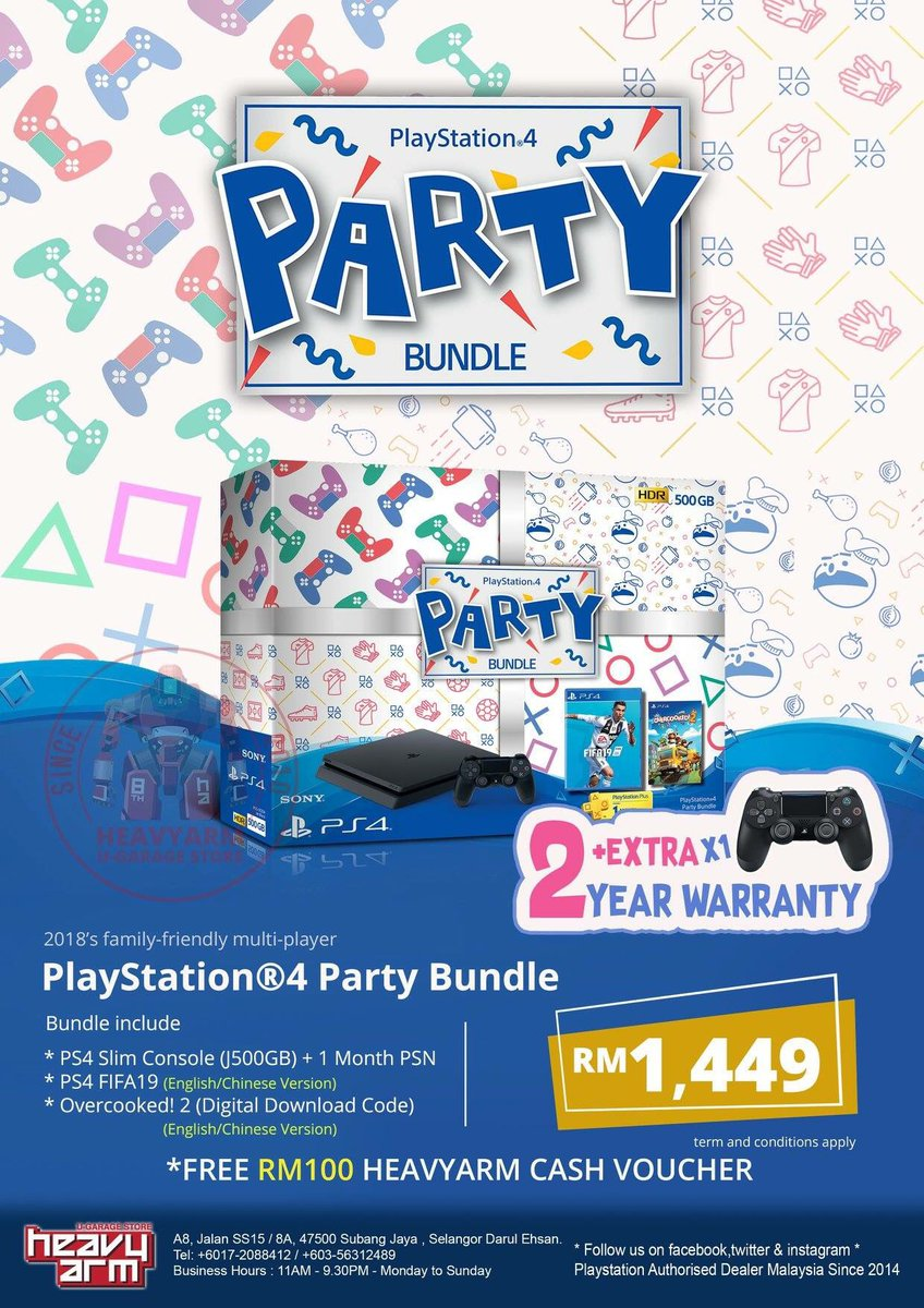 Heavyarm U Store On Twitter Ps4 Slim 500gb Party Bundle Launch This 15th November 2018 Rm1449 This Bundle Come With Total 2 Dualshock 4 1 Ps4 Fifa19 1 Ps4 Overcooked 2 And Psn