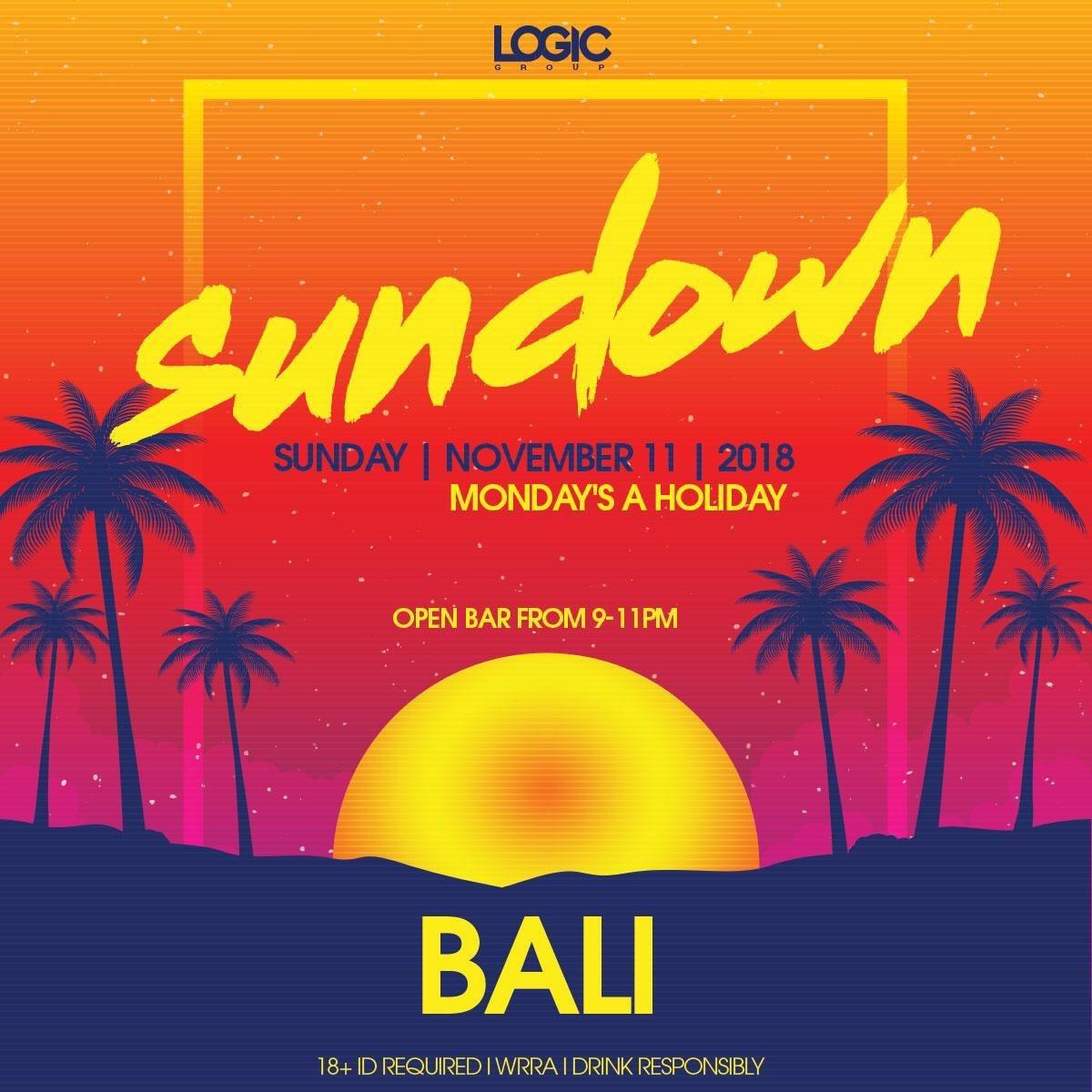 Hoy Domingo de Bali ✨ (Maui 2nd Floor) Open bar de 9-11pm