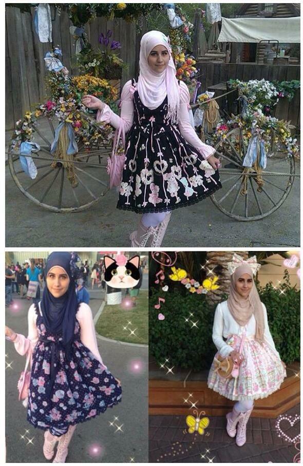 日本のロリータファッションに影響を受けた、イスラム教徒の女の子たちを「ムスリムロリータ」と呼ぶらしいです。ロリータファッションは基本的に露出が少ないので彼女たちには好まれるようです。