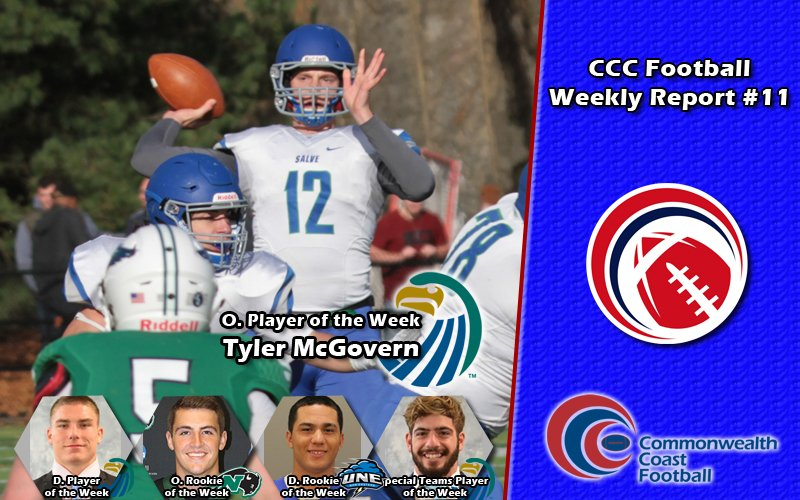 #CCCFB: It's time for our final CCC Football Athletes of the Week! Tyler McGovern and @SalveAthletics came away with a big win on Saturday to close out the season. McGovern was named the Offensive Player of the Week:  http://cccathletics.com/sports/fball/2018-19/releases/FBAOTW11…  #d3fb