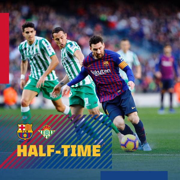 ⏰ At the break at Camp Nou FC Barcelona 0-2 Real Betis ⚽ Júnior and Joaquín #BarçaBetis ���� #ForçaBarça https://t.co/Dg1ToeNMYh