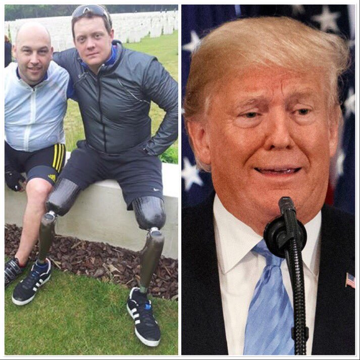 This is Josh, who rode a hand cycle in pouring rain across France and USA after losing three limbs serving his country, to help colleagues. This is Donald, who thinks taking a knee disgraces service people but can't go out in rain in France to remember the fallen.