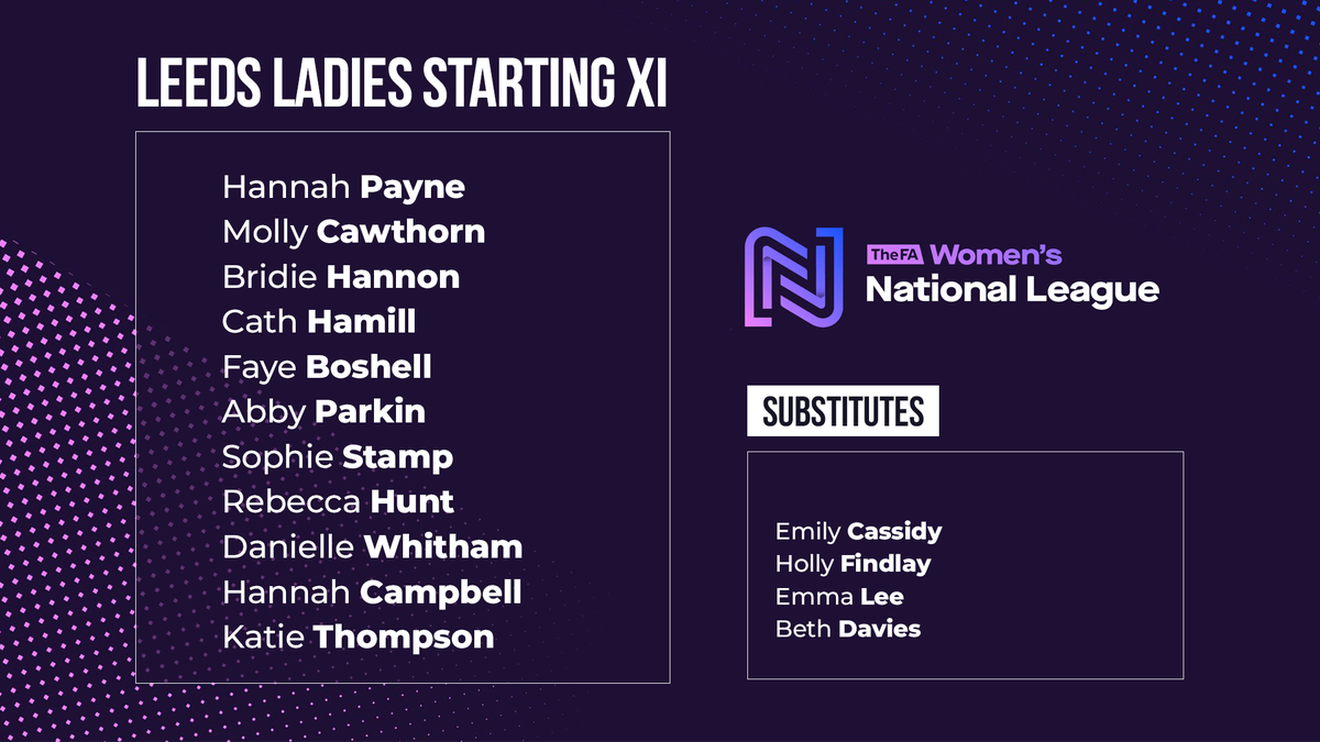 📋 | #LUFC Ladies Starting XI to face Brighouse Town: Payne, Cawthorn, Hannon, Hamill, Boshell, Parkin, Stamp, Hunt, Whitham, Campbell, Thompson