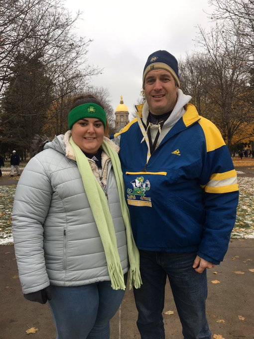 """Twenty-five years ago I went to the """"Game of the Century"""" with my expectant wife. Twenty-five years later my daughter is accompanying me to another @NDFootball #FSUvsND battle. Photo"""