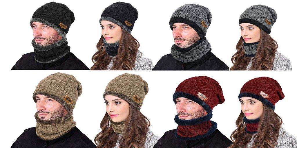 0e1ff2ec Winter Hats - VBIGER 2-Pieces Winter Beanie Hat Scarf Set Warm Knit Hat  Thick Knit Skull Cap for Men Women enjoy the maximum warmth  https://goo.gl/VPjEYb ...