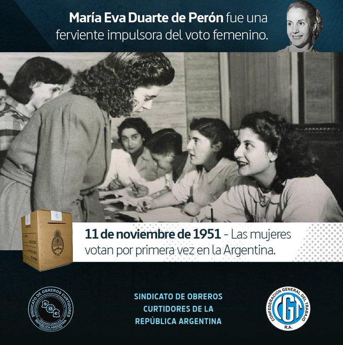 Buen día a tod@s! #BuenDomingo Por impulso de Evita, y decisión política de Juan Perón, las mujeres argentinas votan por primera vez el 11 de noviembre de 1951. Foto
