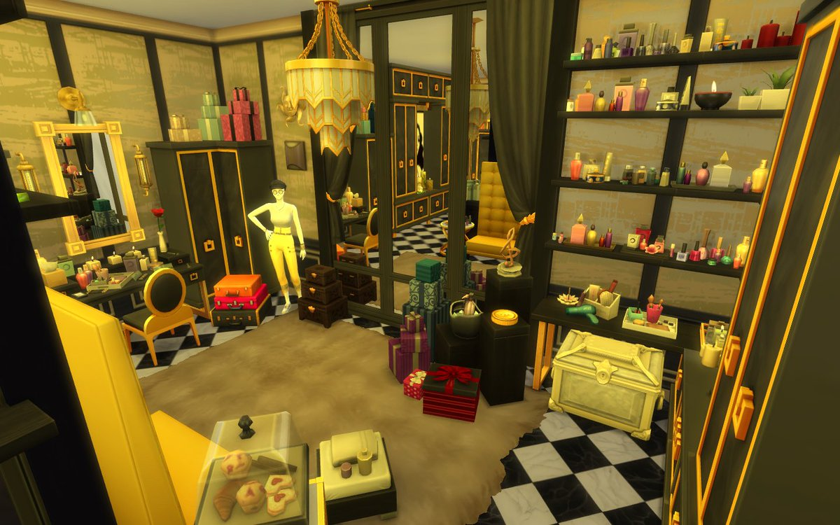 Xamira99 On Twitter The Timeless Glamourous Is A Walk In Closet Build For Oneroomoneweekonetheme Available To Download At Xamira99 Thesims Thesims4 Sims Sims4 Origin Simmer Gamer Moo Nocc Closet Room Interiordesign Walkincloset