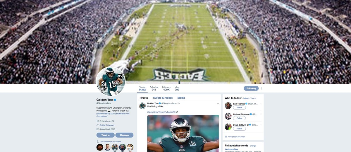 Golden Tate is really all in on being a member of the Eagles.