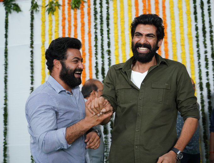 All Smiles😁😁 @tarak9999 @RanaDaggubati #RRRMassiveLaunch Photo