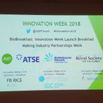 """This week is #innovationwk @ASIForum @atse_au Celebrating with 2018 launch event """"Making Industry Partnerships Work"""" @RoyalSocietyVic with guest speaker @DrCharlieDay #innovation #Entrepreneurship"""