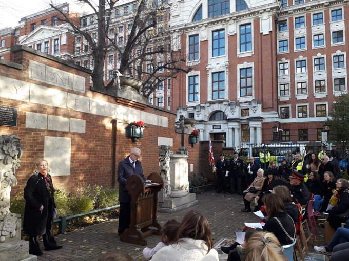 Deeply moving ceremony today at Islington Manor Gardens. We remember the brave who left home not knowing if they would see their loved ones again. And we remember the two world wars which destroyed a generation and shattered communities around the world. #LestWeForget Photo